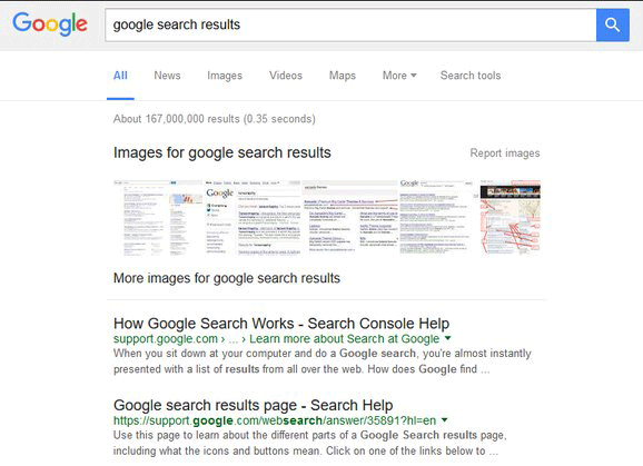 Google Research Results in Black Color