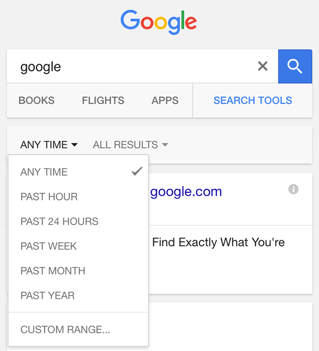 Google Search Filter on Mobile