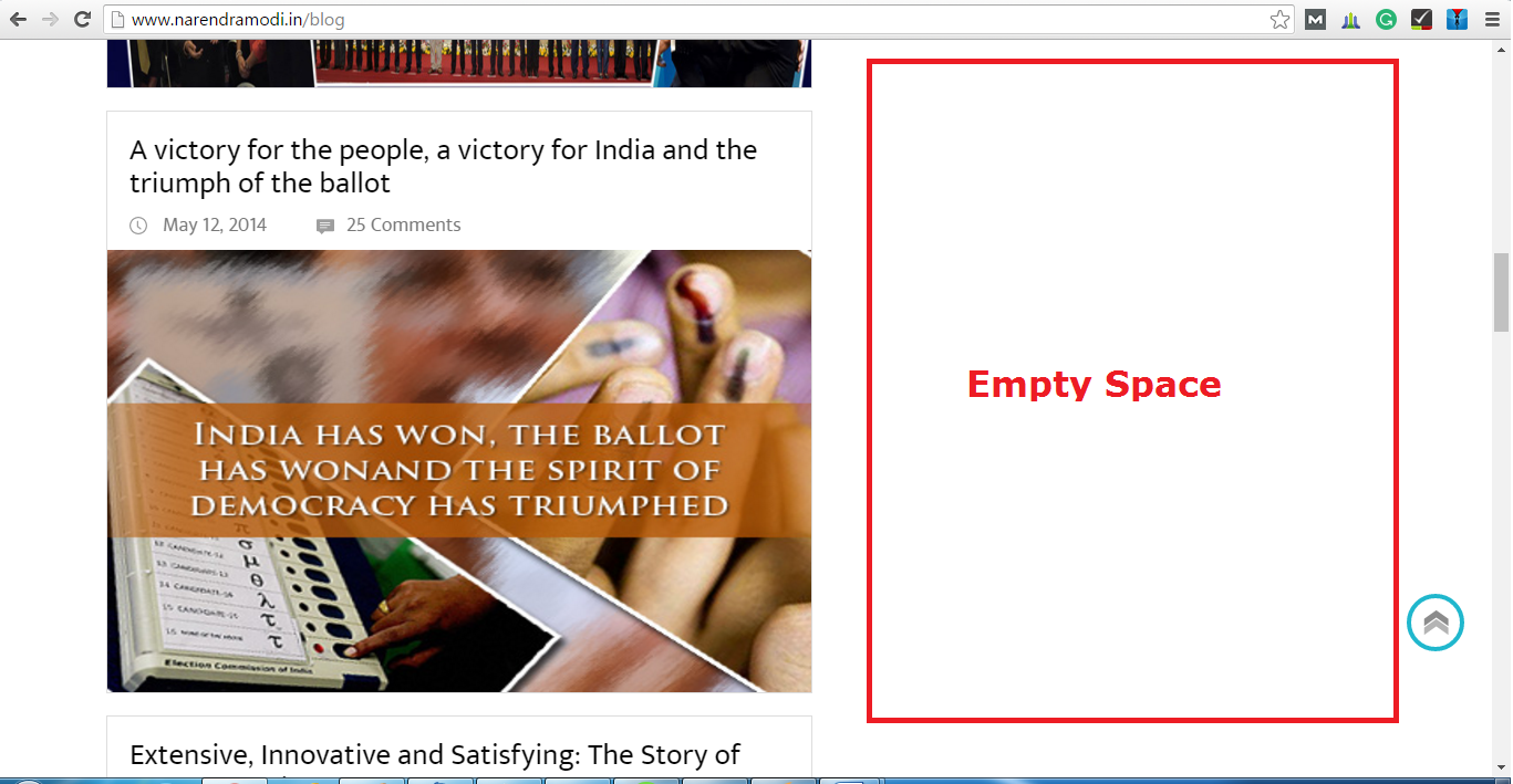Empty Space on Narendra Modi Blog