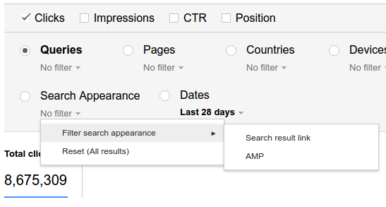 Google Search Analytics AMP Filter