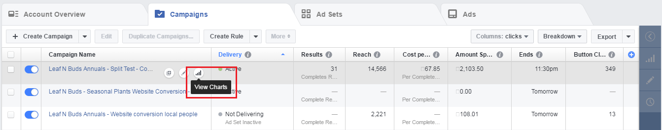 Facebook Ad Manager Dash Board