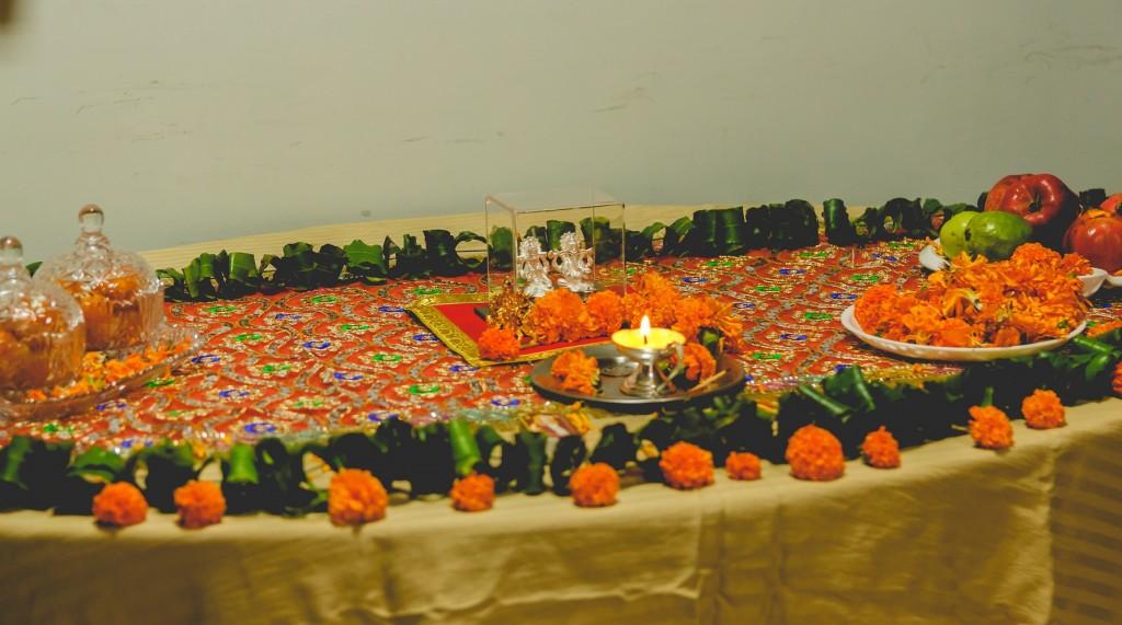 The pooja setup