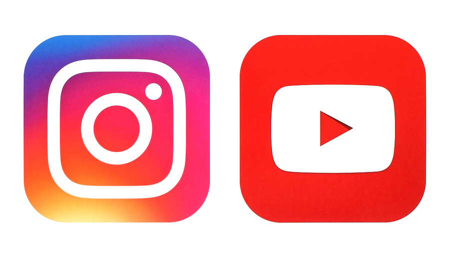 Instagram and YouTube