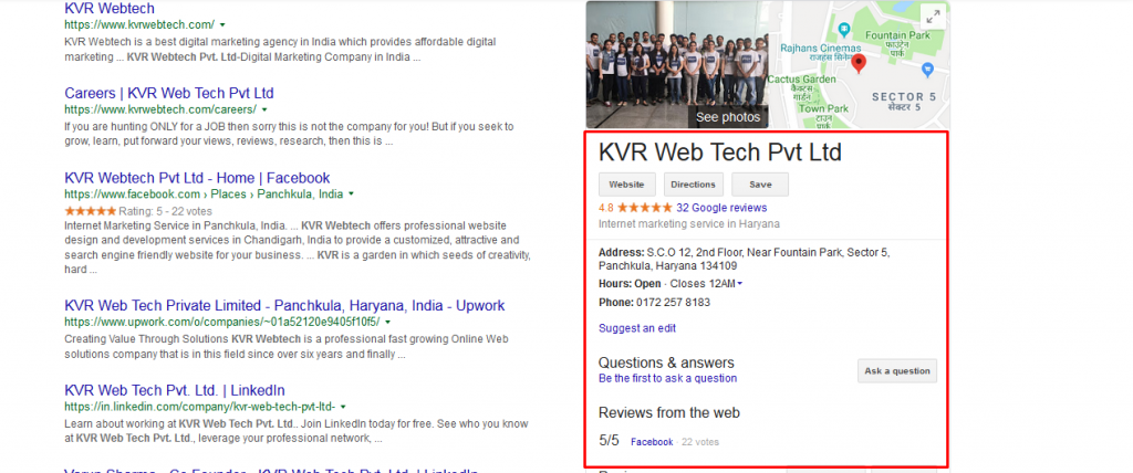 KVR Google My Business Page