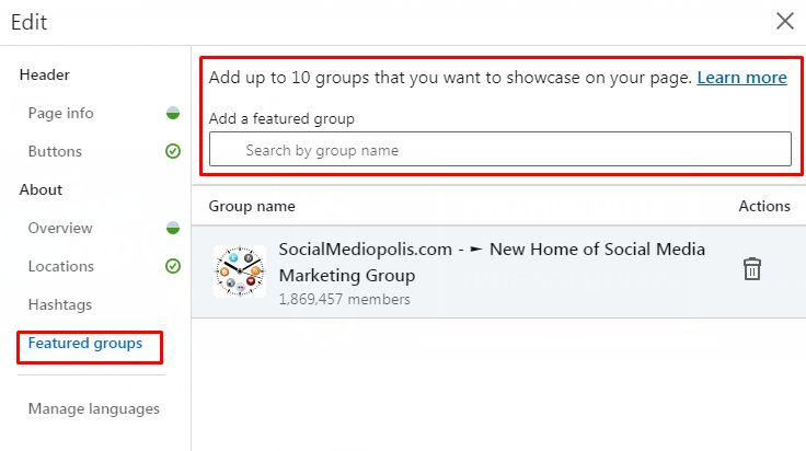LinkedIn Groups Selection